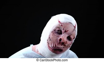 mond, patiënt, verbonden, visage, gezicht, disfigured, sewn-in, hoofd