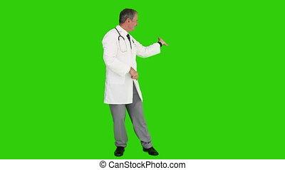 mondige arts, stethoscope, het kijken, fototoestel