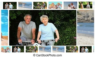 montage, bejaarden, stellen, delen
