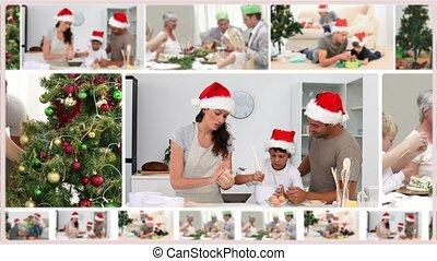 montage, families, kerstmis, uitgeven, samen