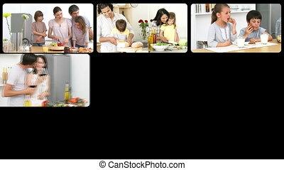 montage, families, th, kaukasisch