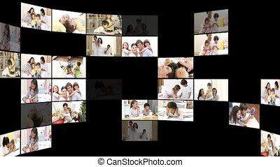 montage, families, vrolijk