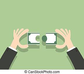 montage, geld, raadsel, jigsaw, overdracht, hands., man