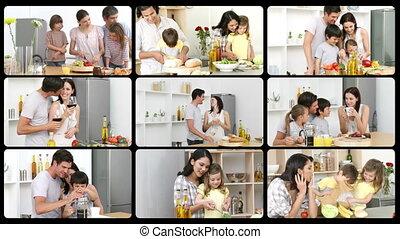 montage, gelukkige families, ki