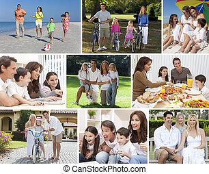 montage, gelukkige families, levensstijl, ouders, kinderen, &