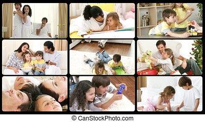 montage, gelukkige families, spelend