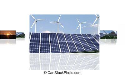 montage, groene, illustreren, energie, eerbied, milieu