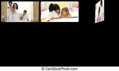 montage, hebben, gelukkige families, fu