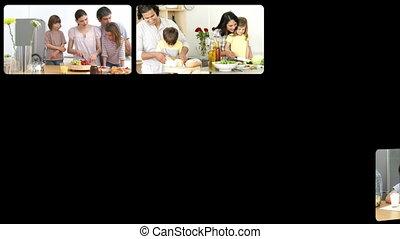 montage, k, families, levendig
