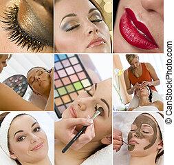 montage, op, vrouwen, maken, gezondheid, behandeling, spa