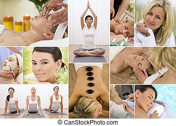montage, relaxen, vrouwen, gezondheid spa