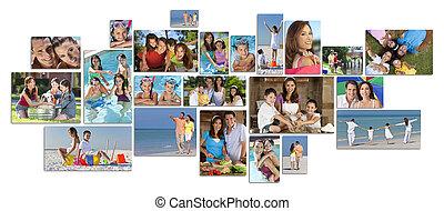 montage, vrolijke , levensstijl, gezin, twee, ouders, kinderen, &