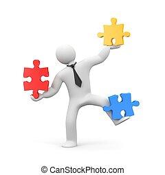 montage, zakelijk, jigsaw, puzzle., illustratie, 3d, man