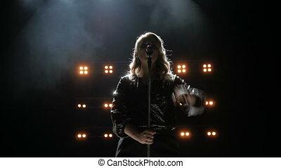 mooi, achtergrond., toneel, lied, rokerig, jonge, zingt, zinger, helder