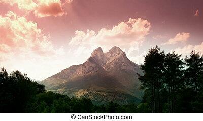 mooi, berg landschap, forca, timelapse, pedra, catalunya, spanje