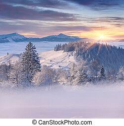 mooi, berg, winter, zonopkomst, dorp