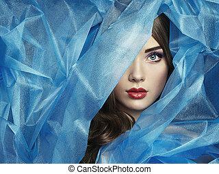 mooi, blauwe , mode, foto, onder, sluier, vrouwen