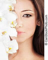 mooi, bloemen, closeup, gezicht