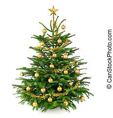 mooi, boompje, baubles, goud, kerstmis