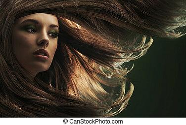 mooi, bruin haar, dame, lang