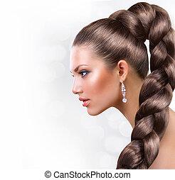 mooi, bruine , vrouw, gezonde , langharige, hair., verticaal
