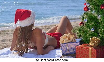 mooi, cadeau, boompje, dozen, kerstman, onder, strand, kerstmis, zanderig
