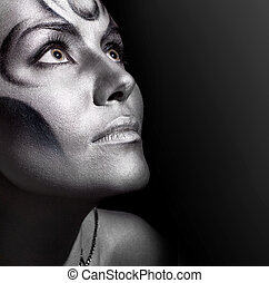 mooi, close-up, vrouw, bodyart, verticaal, zilver