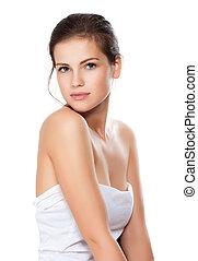 mooi, close-up, vrouw, gezonde , jonge, gezicht, schoonmaken, huid, verticaal