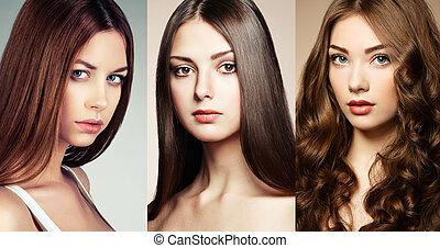 mooi, collage, vrouwen, gezichten