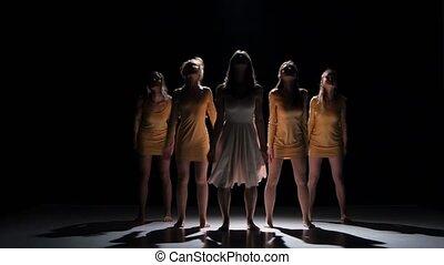mooi, dancing, moderne, meiden, tijdgenoot, dans, start, vijf, black , schaduw