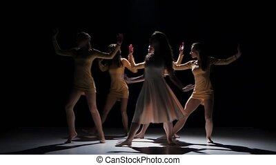 mooi, dancing, moderne, meiden, tijdgenoot, dans, vijf, black , schaduw