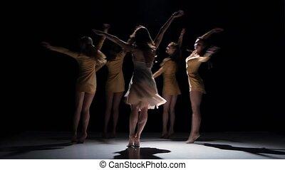 mooi, dancing, moderne, meiden, tijdgenoot, dans, voortzetten, vijf, black , schaduw