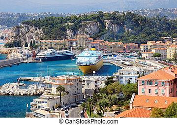 mooi, d'azur., haven, groot, od, frankrijk, schepen, cote, cruise, europe., aardig