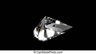mooi, diamant, reflectie, op, bekwaam, ronddraaien, zwarte achtergrond, lus