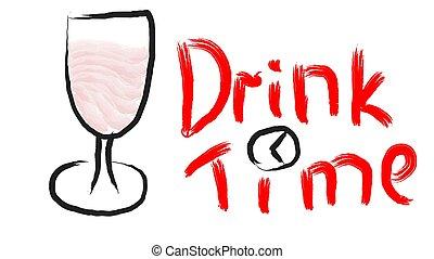 mooi, drank, illustration., klok, geverfde, been, glas, merlot, achtergrond., vector, black , hand, tijd, getrokken, witte , schrijvende , rode wijn