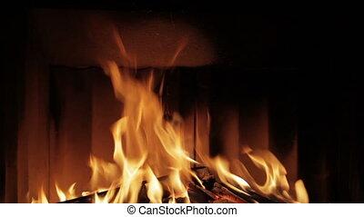 mooi, echte, openhaard, vuur