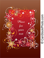mooi, floral, frame, rood