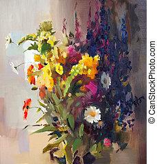 mooi, flowers., olieverfschilderij
