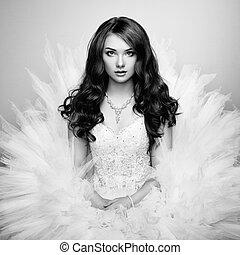 mooi, foto, bride., verticaal, trouwfeest