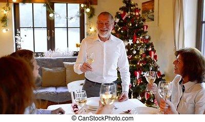 mooi, gezin, groot, vieren, samen., kerstmis