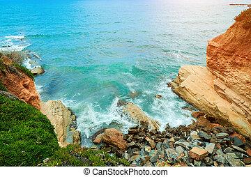 mooi, golven, rotsachtig, inham, zee