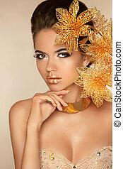 mooi, gouden, beauty, flowers., aantrekkelijk, meisje, woma, model