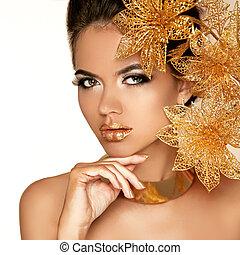 mooi, gouden, vrouw, kunst, beauty, face., flowers., makeup., skin., mode, make-up., perfect, professioneel, meisje, model