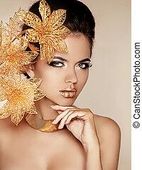 mooi, gouden, vrouw, kunst, beauty, face., photo., flowers., makeup., skin., mode, make-up., perfect, professioneel, meisje, model