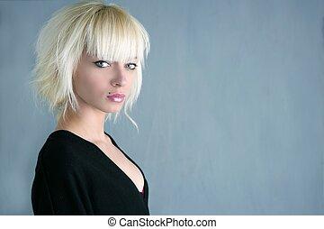 mooi, grijs, mode, achtergrond, blonde, meisje