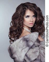 mooi, grijs, vrouw, vacht, winter, beauty, coat., vrijstaand, mode, luxe, achtergrond, model, nerts, meisje