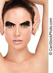 mooi, grit, beauty, rokerig, artistiek, oog, model
