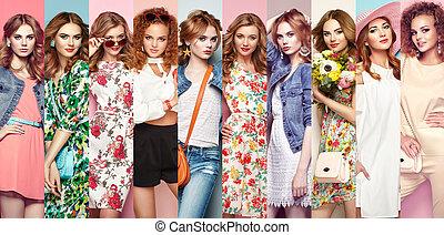 mooi, groep, jonge vrouwen