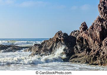 mooi, groot, strand rots