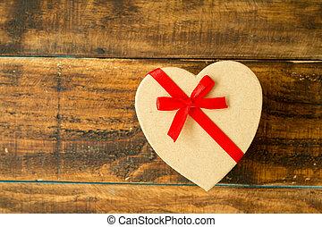 mooi, hart, cadeau, vorm, rood lint